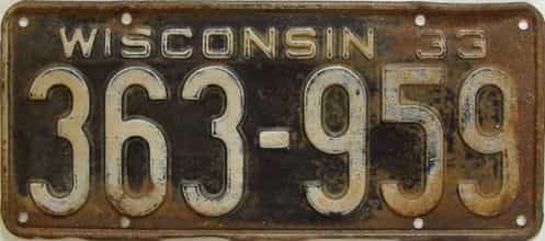 1933 Wisconsin (Single) license plate for sale
