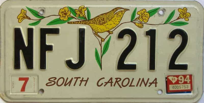 1994 South Carolina license plate for sale
