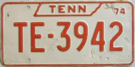 1974 Tennessee  (Non Passenger) license plate for sale