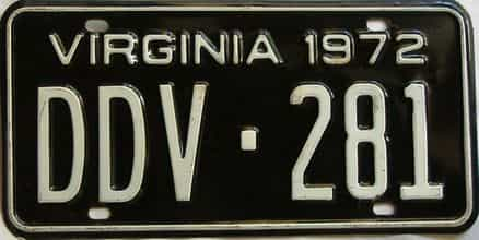 1972 Virginia  (Single) license plate for sale