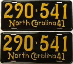 RESTORED 1941 North Carolina  (Pair) license plate for sale
