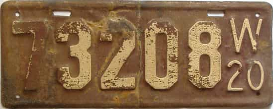 1920 Wisconsin  (Single) license plate for sale
