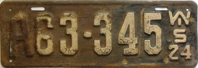 1924 Wisconsin  (Single) license plate for sale