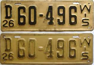 1926 Wisconsin  (Pair) license plate for sale