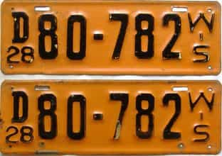 1928 Wisconsin  (Pair) license plate for sale