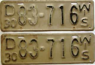 1930 Wisconsin  (Pair) license plate for sale