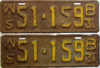 1931 Wisconsin  (Pair) license plate for sale