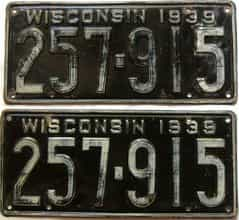 1939 Wisconsin  (Pair) license plate for sale
