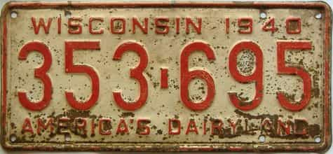 1940 Wisconsin  (Single) license plate for sale