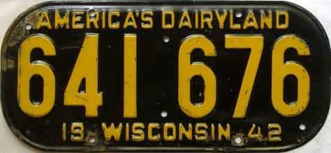 1942 Wisconsin  (Single) license plate for sale