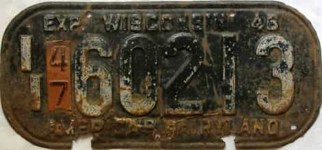 1947 Wisconsin  (Single) license plate for sale