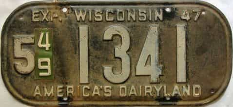 1949 Wisconsin  (Single) license plate for sale