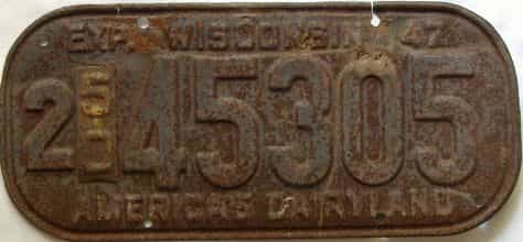 1950 Wisconsin  (Single) license plate for sale