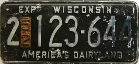1952 Wisconsin  (Single) license plate for sale