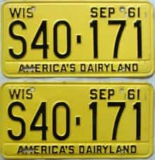 1961 Wisconsin  (Pair) license plate for sale