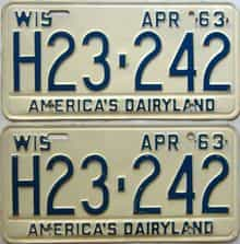 1963 Wisconsin  (Pair) license plate for sale