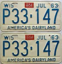 1964 Wisconsin  (Pair) license plate for sale
