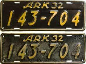 1932 Arkansas  (Pair) license plate for sale