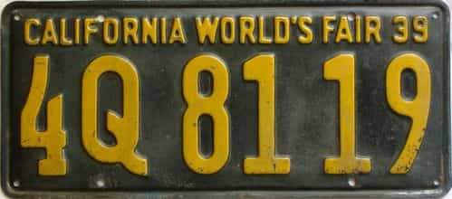 1939 California  (Single) license plate for sale