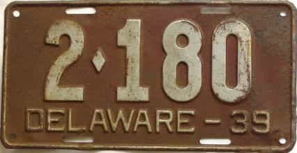 1939 Delaware  (Single) license plate for sale