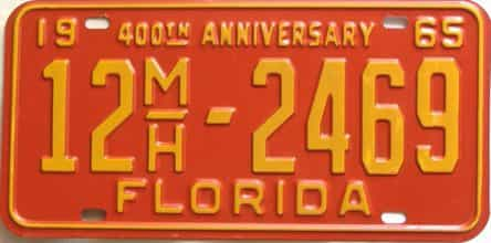 1965 Florida license plate for sale
