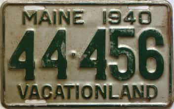 1940 Maine  (Single) license plate for sale