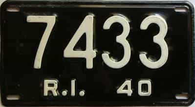 1940 Rhode Island  (Single) license plate for sale