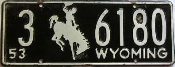 1953 Wyoming  (Single) license plate for sale