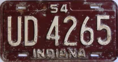 1954 Indiana  (Single) license plate for sale