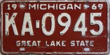 1969 Michigan  (Single) license plate for sale