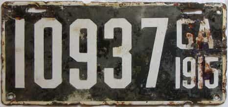 YOM 1915 Georgia license plate for sale