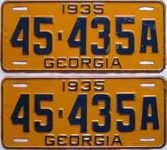 YOM 1935 Georgia  (Pair) license plate for sale