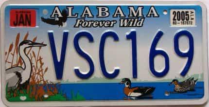 2005 Alabama license plate for sale