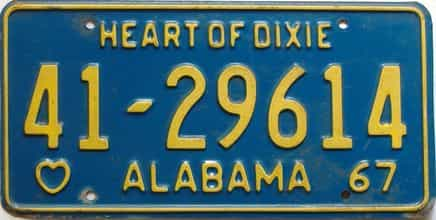 1967 Alabama license plate for sale