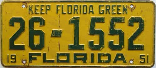 1951 Florida license plate for sale