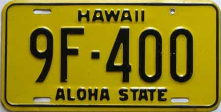 1969 Hawaii  (Single) license plate for sale