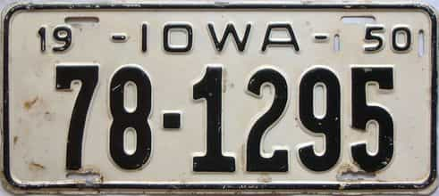 1950 Iowa  (Single) license plate for sale