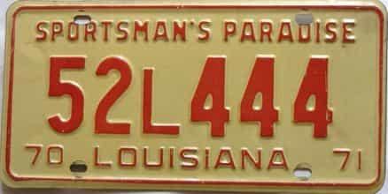 1970 Louisiana license plate for sale