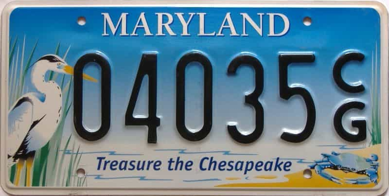 Maryland  (Single) license plate for sale