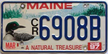1997 Maine  (Single) license plate for sale