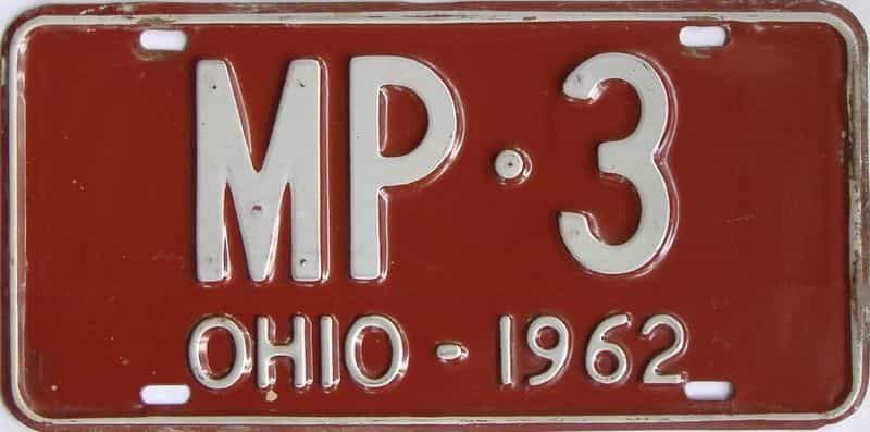 1962 Ohio  (Vanity) license plate for sale