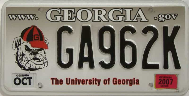 2007 GA license plate for sale
