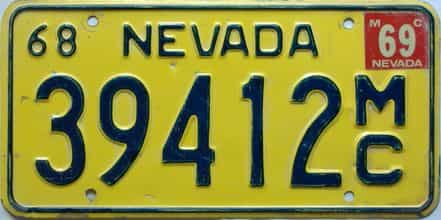 1969 Nevada  (Single) license plate for sale