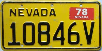 1978 Nevada  (Non Passenger) license plate for sale