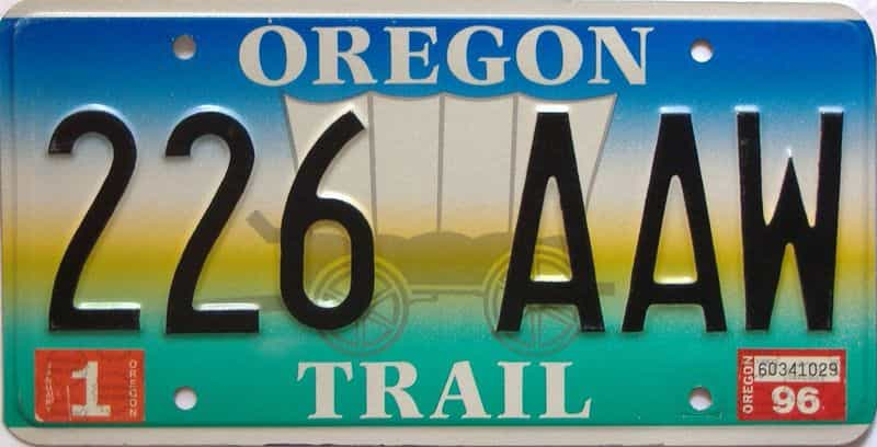 1996 Oregon  (Single) license plate for sale