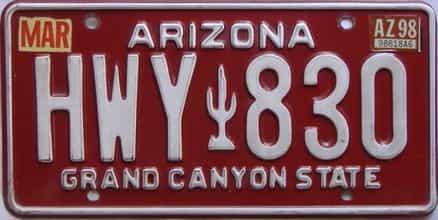 1998 Arizona license plate for sale