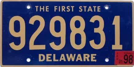1998 Delaware license plate for sale