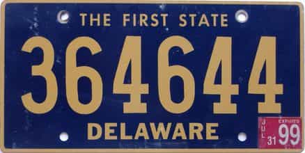 1999 Delaware license plate for sale