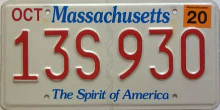 2020 Massachusetts  (Single) license plate for sale