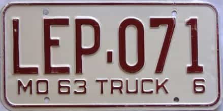 1963 Missouri  (Truck) license plate for sale